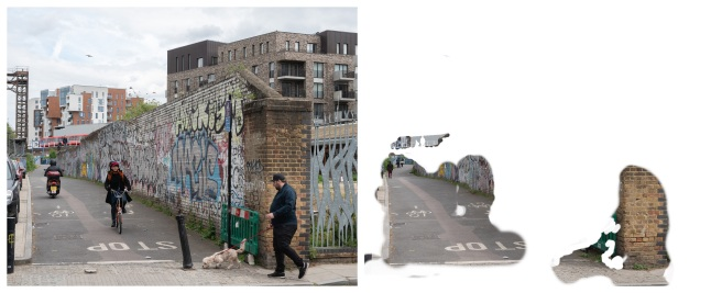 Example of a Composite for 'Reconstructing Deptford' and the Corresponding Solid White Layer with Layer Masks Revealing the Background Layer II