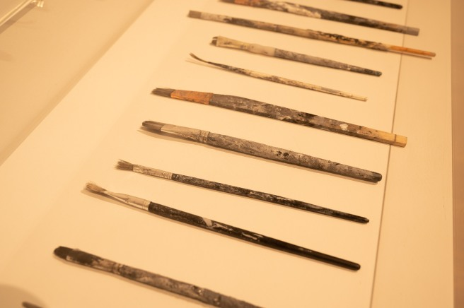Paintbrushes Used by Clare Strand for The Discrete Channel with Noise in a Vitrine at The Photographers' Gallery